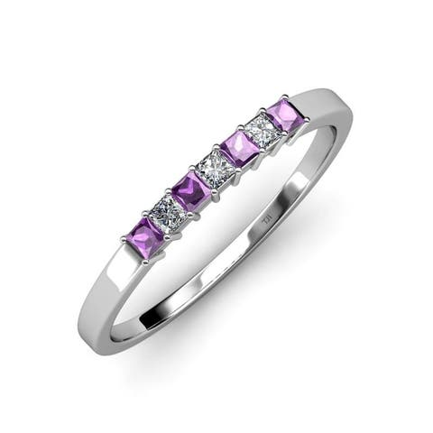 TriJewels Amethyst Diamond 5/8 ctw Womens Wedding Band 14KW Gold