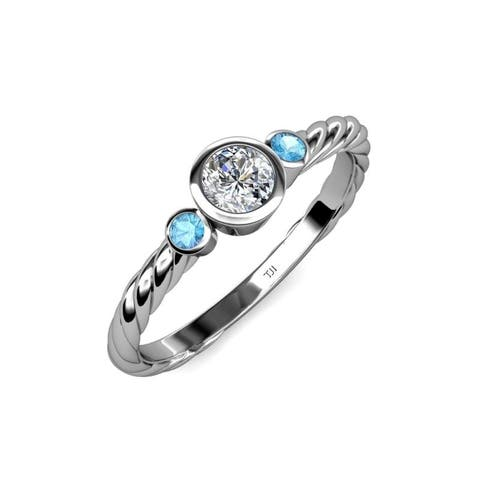 TriJewels Blue Topaz Diamond 3/4 ctw Womens Engagement Ring 14KW Gold