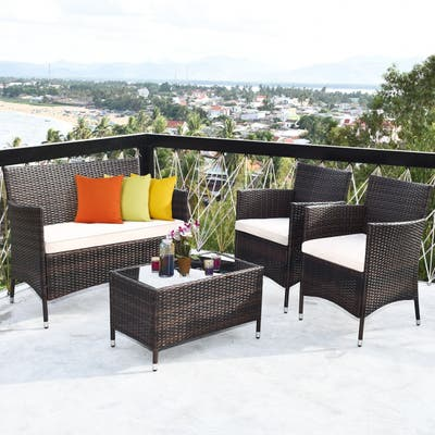Rattan Outdoor 4-piece Chat Set with Cushions