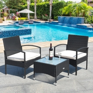 Outdoor Rattan Table And Chairs Set Wicker Furniture Set of 3 Black