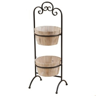 Two-Tier Wood Planters with Metal Stand