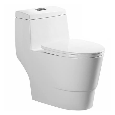 Fine Fixtures Modern Dual Flush Elongated One-Piece Toilet (Seat Included)