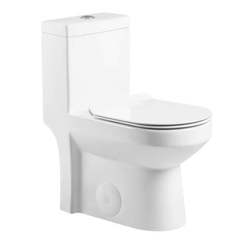 "Fine Fixtures Dual-Flush Round One-Piece Toilet 10"" Rough in (Seat Included)"