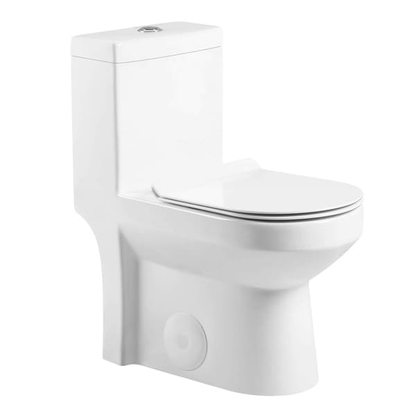 Fine Fixtures Dual-flush 1-piece Toilet 10-in. Rough-in w/ Seat. Opens flyout.