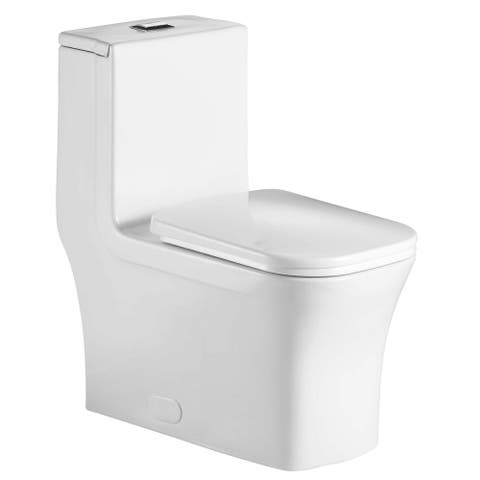 Fine Fixtures Dual-Flush Elongated One-Piece Toilet with High Efficiency Flush