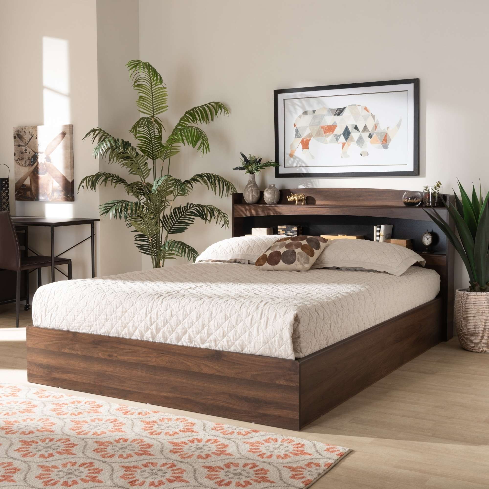 Shop Black Friday Deals On The Gray Barn Church Farm Modern Wood Queen Platform Bed With Shelves Overstock 30932013