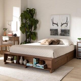 Carbon Loft Dehaney Modern Rustic Ash Walnut Brown Wood Platform Bed with Shelves