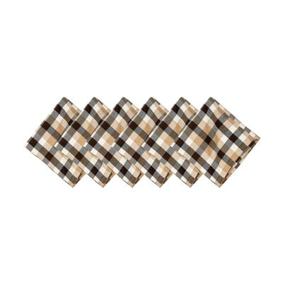 Dunmore Plaid Cocoa Napkin Set of 6 - 18 x 18
