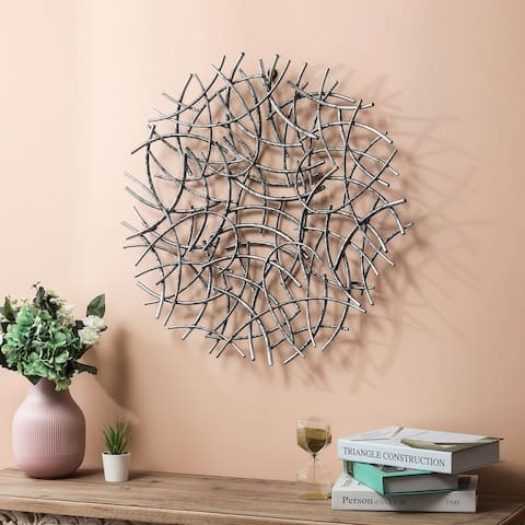 Large Antiqued-Silver Abstract Round Metal Wall Decor