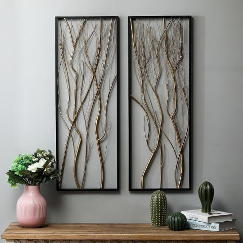 2-Piece Metal Gold Branch Wall Decor