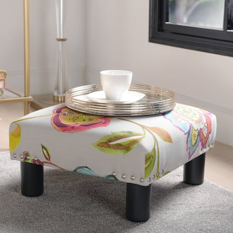 Isabella Square Studded Accent Ottoman Footstool