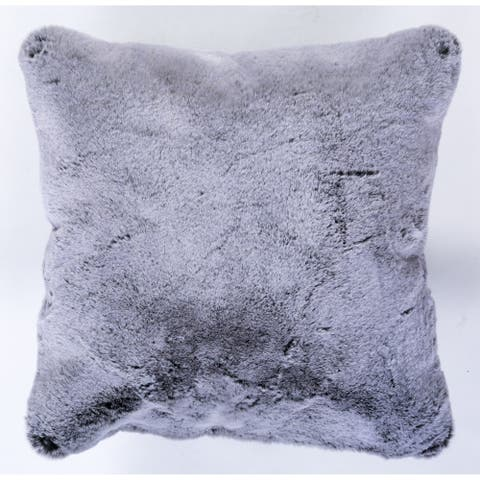 "Faux Fur Solid Square Grey Pillow - (20"" x 20"")"