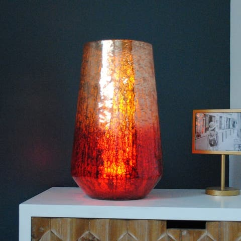 The Curated Nomad Leita LED Ombre Mercury Glass Hurricane Light