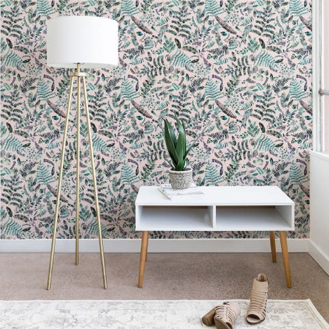 Deny Designs Botanical Plants Aqua Pink Wallpaper