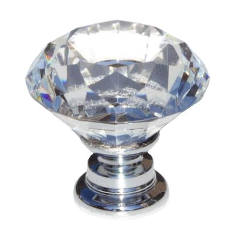 GlideRite 5-Pack 1-1/8 in. Diamond Crystal Cabinet Knobs - Polished Chrome