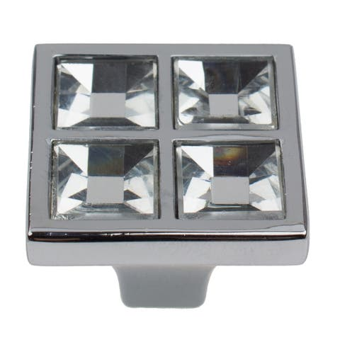 GlideRite 5-Pack 1 in. Square K9 Crystal Cabinet Knobs - Polished Chrome