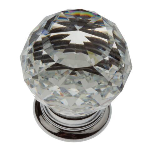 GlideRite 5-Pk1-1/4 in. Round Crystal Cabinet Knob - Polished Chrome - Polished Chrome