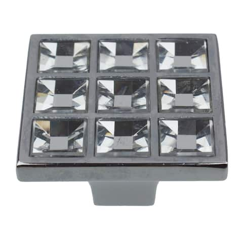 GlideRite 5-Pack 1-1/2 in. Square K9 Crystal Cabinet Knobs - Polished Chrome