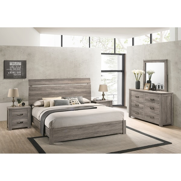 Floren 5-piece Contemporary Weathered Gray Wood Bedroom Set. Opens flyout.