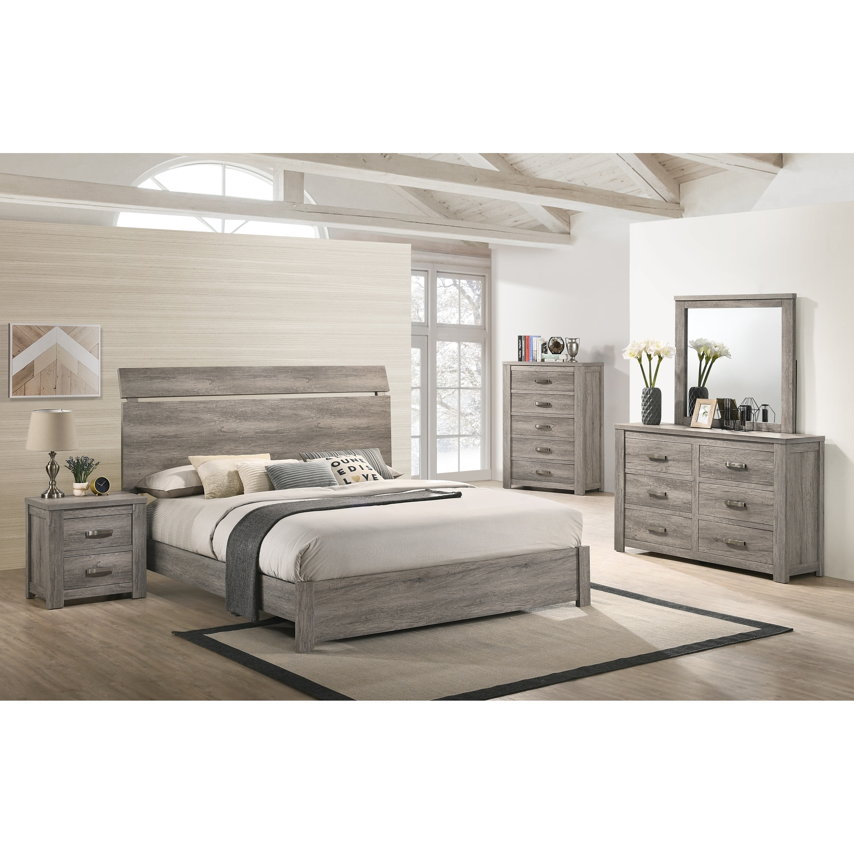 Floren Contemporary Weathered Gray Wood Bedroom Set, Panel Bed, Dresser,  Mirror, Nightstand, Chest