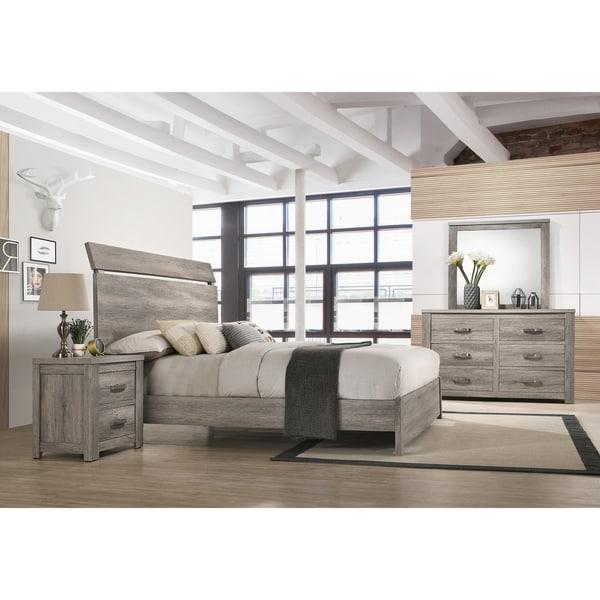 Floren Contemporary Weathered Gray Wood Bedroom Set, Panel Bed, Dresser, Mirror, Nightstand. Opens flyout.