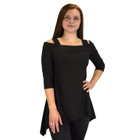 Womens Cut Out Shoulder 3/4 Sleeve Loose Silhouette Top Blouse