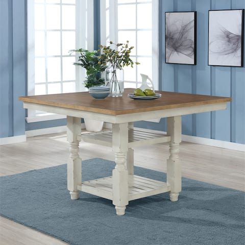 Prato Antique White and Distressed Oak Two-tone Finish Wood Counter Height Dining Table
