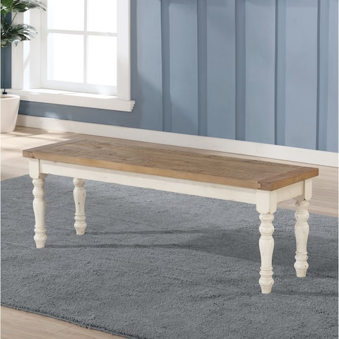 The Gray Barn Far Darrig Antique White and Distressed Oak Wood Dining Bench