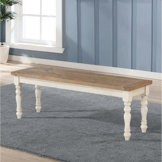 Link to The Gray Barn Far Darrig Antique White and Distressed Oak Wood Dining Bench Similar Items in Kitchen & Dining Room Chairs