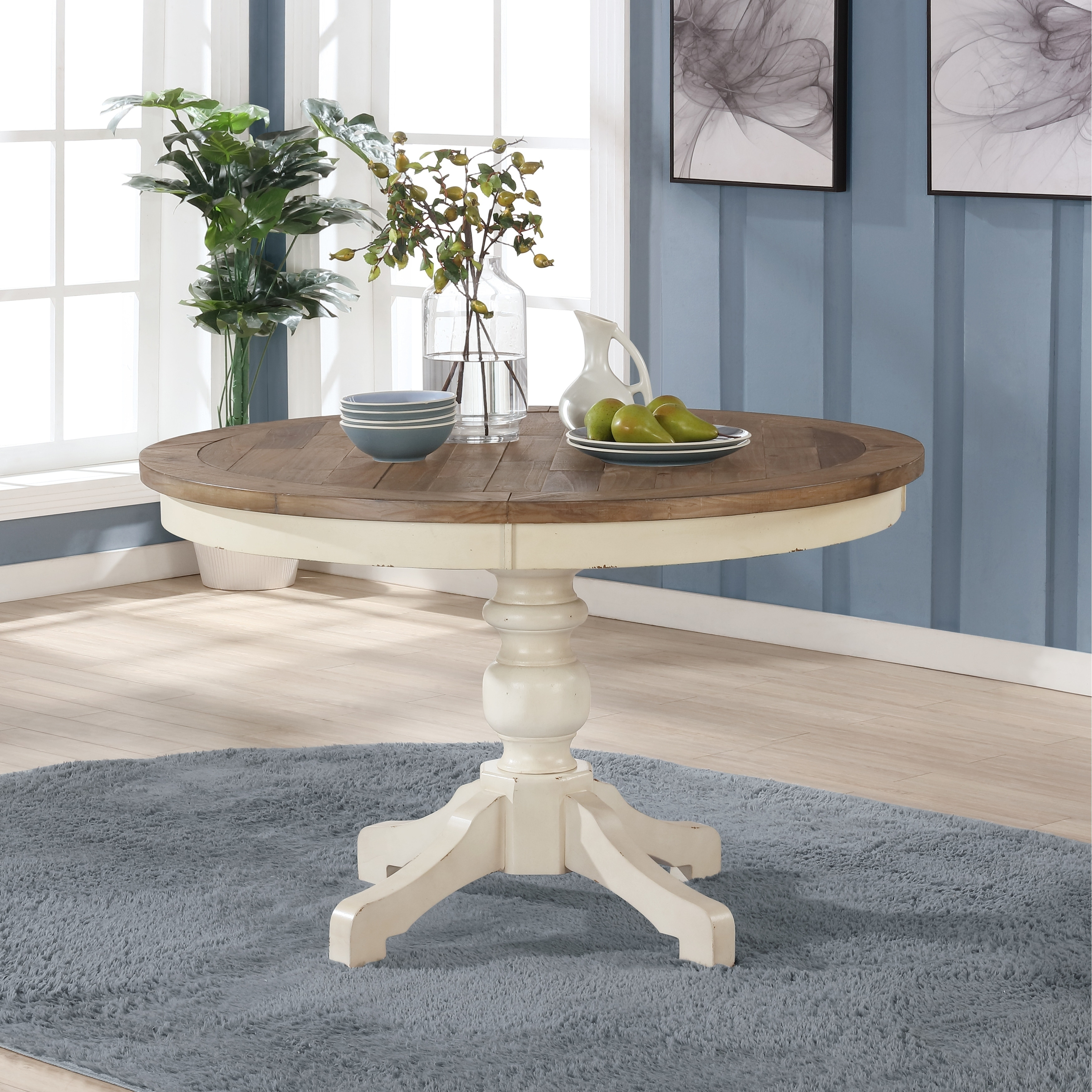 Prato Round Antique White And Distressed Oak Two Tone Finish Wood Dining Table On Sale Overstock 30933198