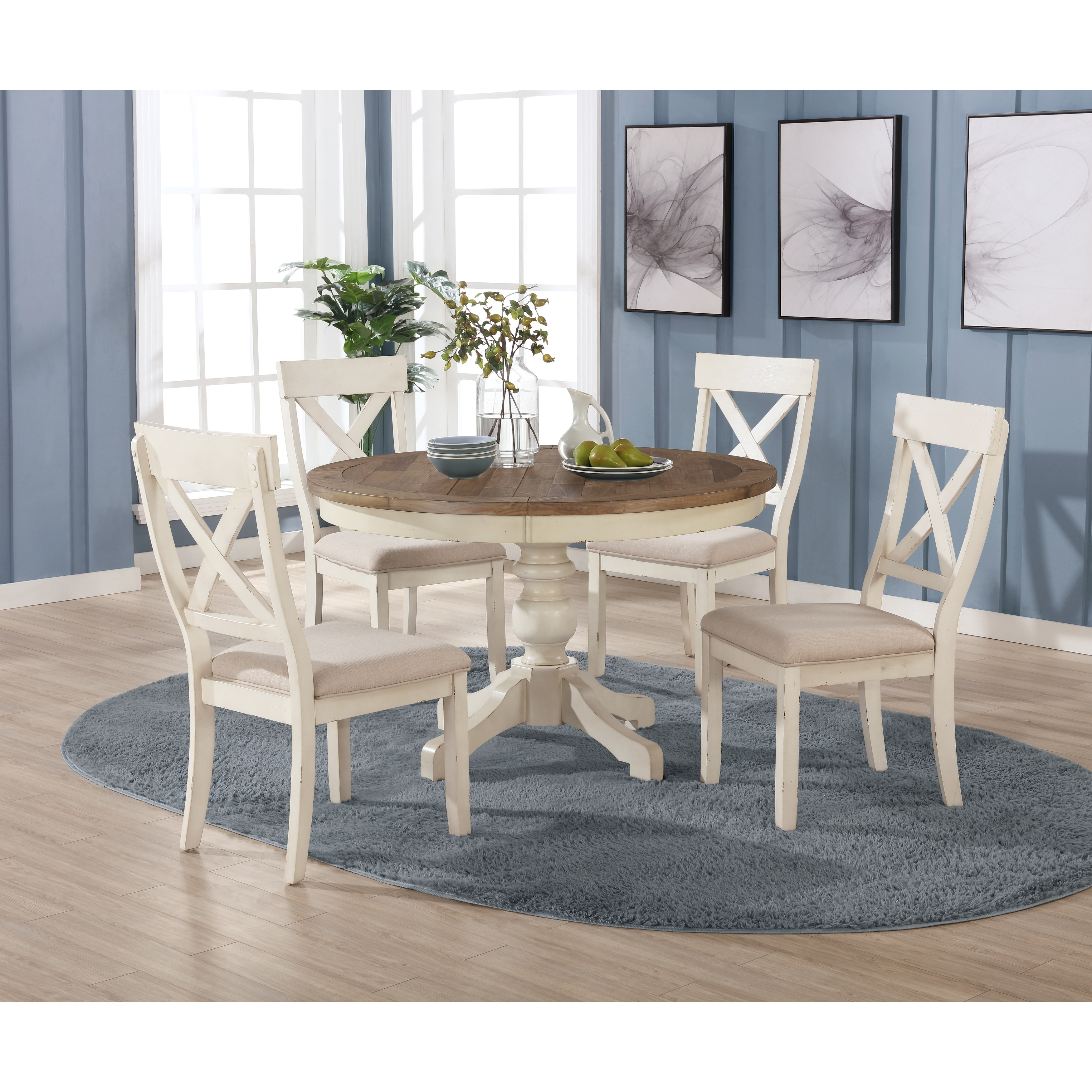 Prato 10-Piece Round Dining Table Set with Cross Back Chairs, Antique White  and Distressed Oak