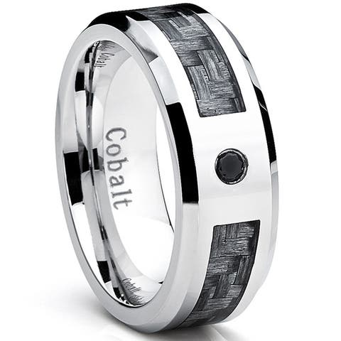 Oliveti Cobalt Men's Wedding Band Ring with Gray Carbon Fiber Inlay and 0.04 Black Diamond, 8mm Sizes 8-12