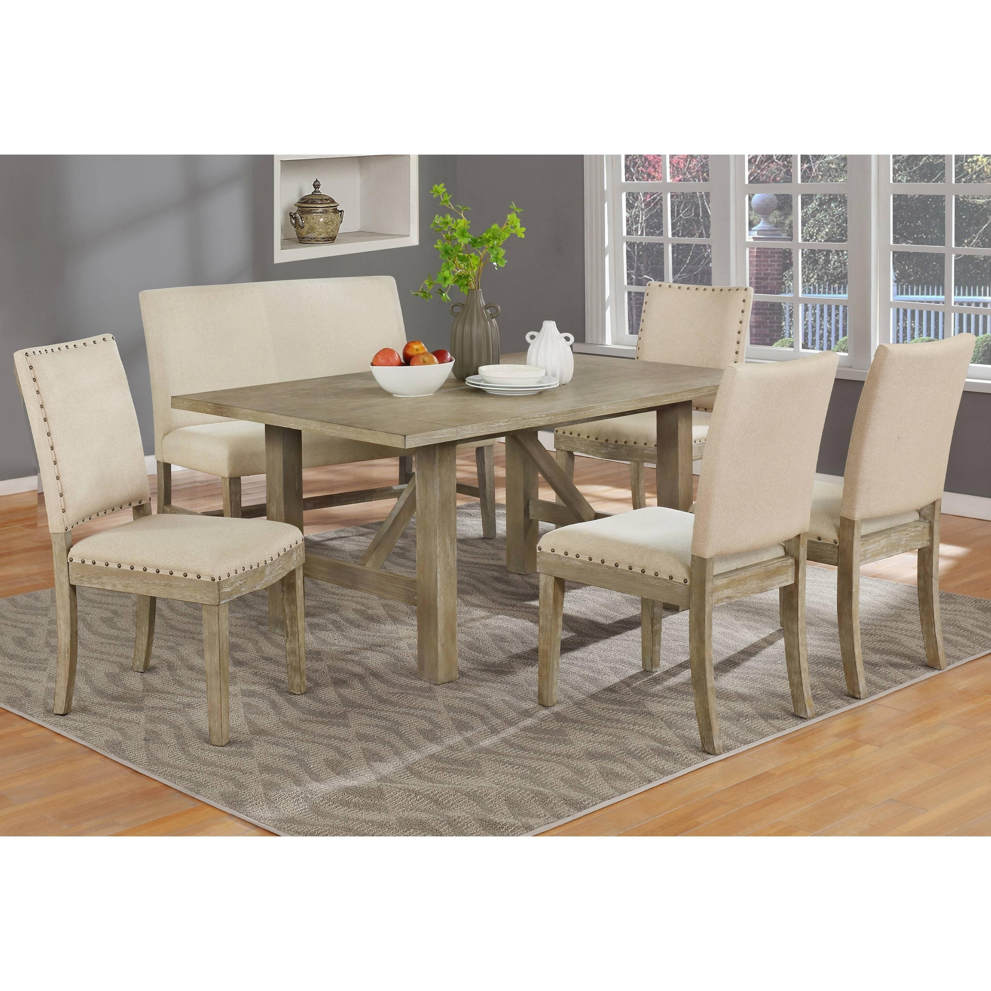 Best Quality Furniture Rustic Beige Dining Set With Upholstered Dining Chairs And Bench On Sale Overstock 30933271