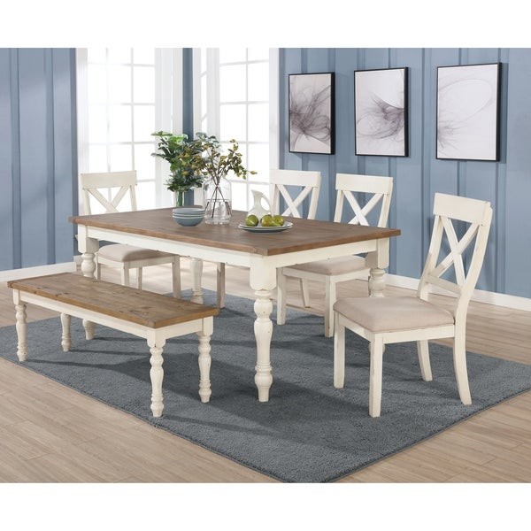 prato antique white distressed oak 6piece dining table