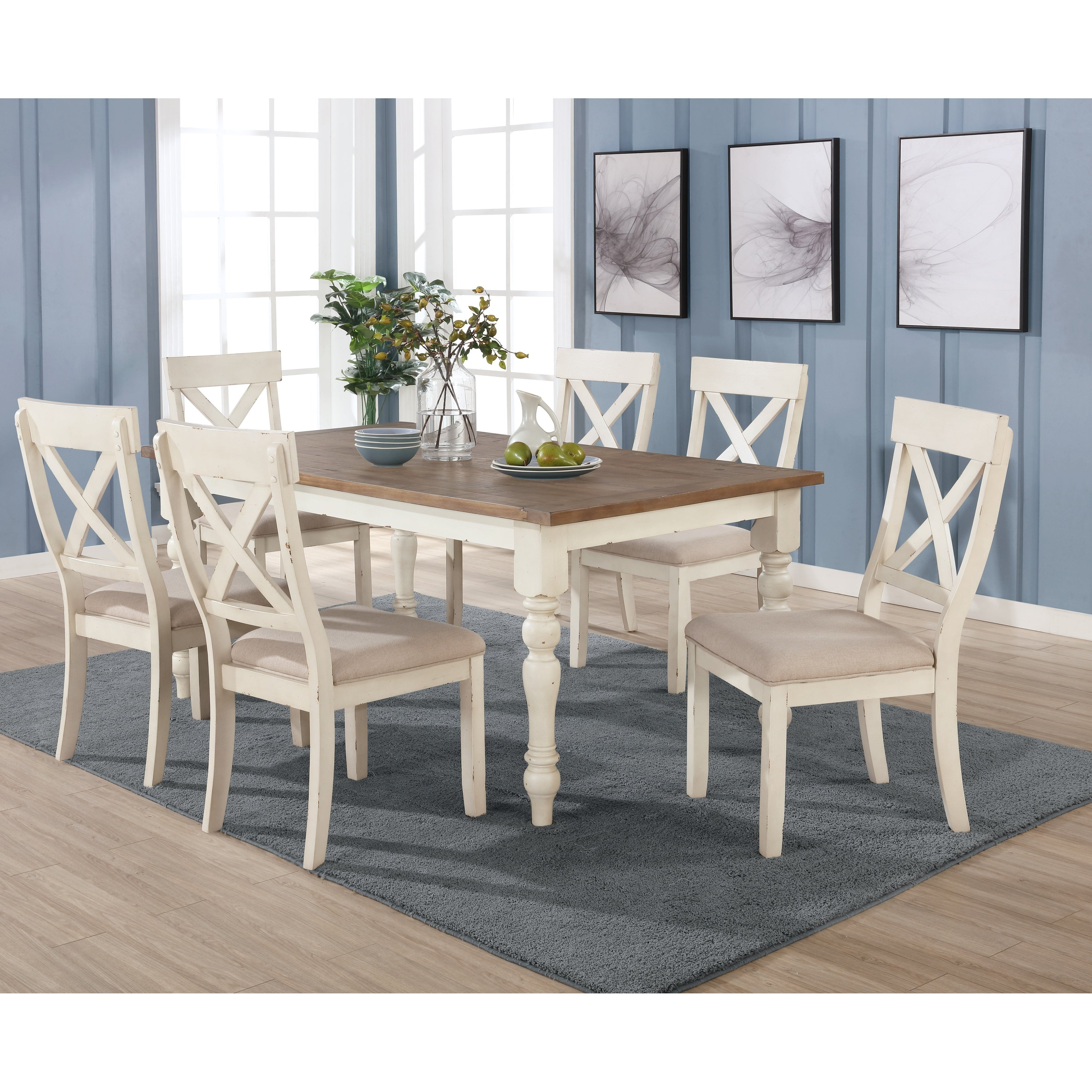 Prato 9 piece Dining Table Set With Cross Back Chairs, Antique White and  Distressed Oak