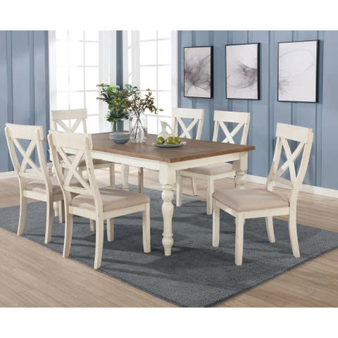 Prato 7-piece Dining Table Set With Cross Back Chairs, Antique White and Distressed Oak