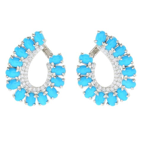 925 Sterling Silver Sleeping Beauty Turquoise,White Natural Zircon Earring