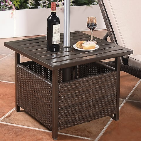 Rattan Wicker Side Table Outdoor Furniture Deck Umbrella Table Brown