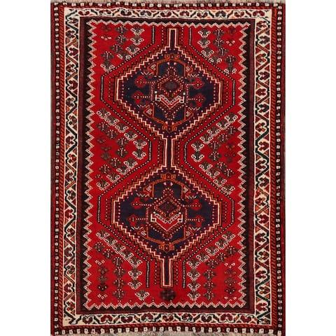 "Tribal Geometric Shiraz Persian Kitchen Area Rug Handmade Carpet - 3'5"" x 5'0"""