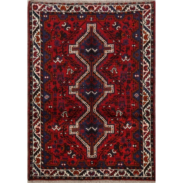 "Geometric Tribal Shiraz Persian Home Decor Area Rug Handmade Carpet - 3'7"" x 5'1"". Opens flyout."