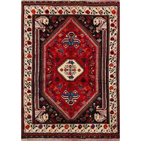 """Vintage Tribal Red Shiraz Persian Area Rug Hand-Knotted Wool Carpet - 3'8"""" x 5'2"""""""