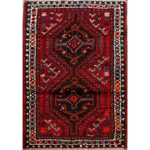 "Decorative Tribal Geometric Shiraz Persian Area Rug Handmade Carpet - 2'7"" x 4'2"""