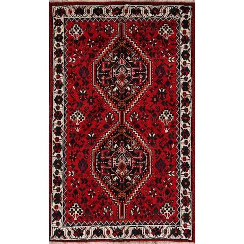 "Tribal Geometric Red Shiraz Persian Area Rug Handmade Office Carpet - 3'6"" x 5'0"""