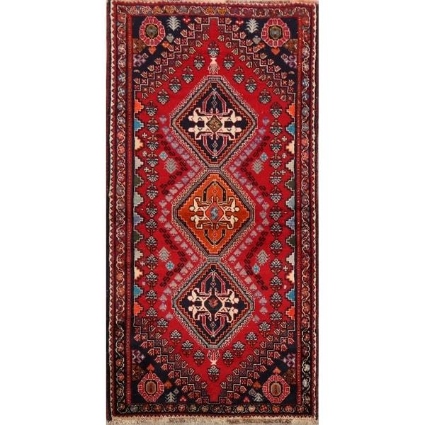 "Tribal Geometric Abadeh Nafar Persian Area Rug Handmade Carpet - 2'8"" x 5'7"". Opens flyout."