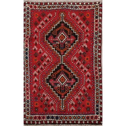 "Decorative Tribal Geometric Shiraz Persian Area Rug Handmade - 2'6"" x 4'1"""
