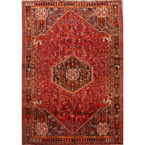 "Vintage Tribal Geometric Lori Persian Area Rug Hand-Knotted Carpet - 5'3"" x 7'11"""