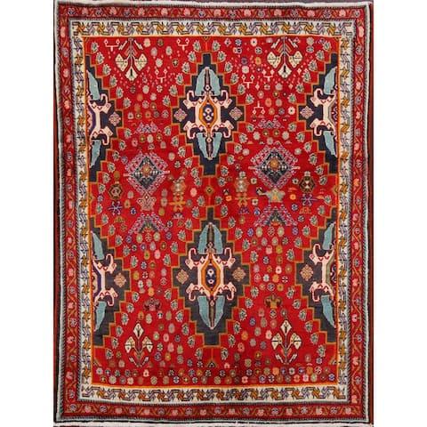 "Vintage Tribal Geometric Kashkoli Persian Area Rug Handmade Carpet - 3'4"" x 4'10"""