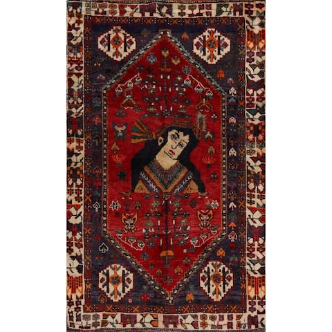 "Vintage Tribal Pictorial Shiraz Persian Area Rug Handmade Carpet - 3'5"" x 4'9"""