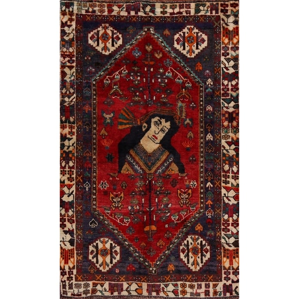 """Vintage Tribal Pictorial Shiraz Persian Area Rug Handmade Carpet - 3'5"""" x 4'9"""". Opens flyout."""