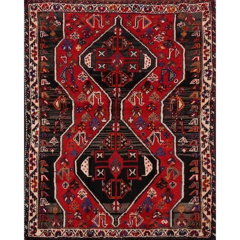 "Vintage Geometric Red Shiraz Persian Area Rug Handmade Foyer Carpet - 3'11"" x 5'4"""